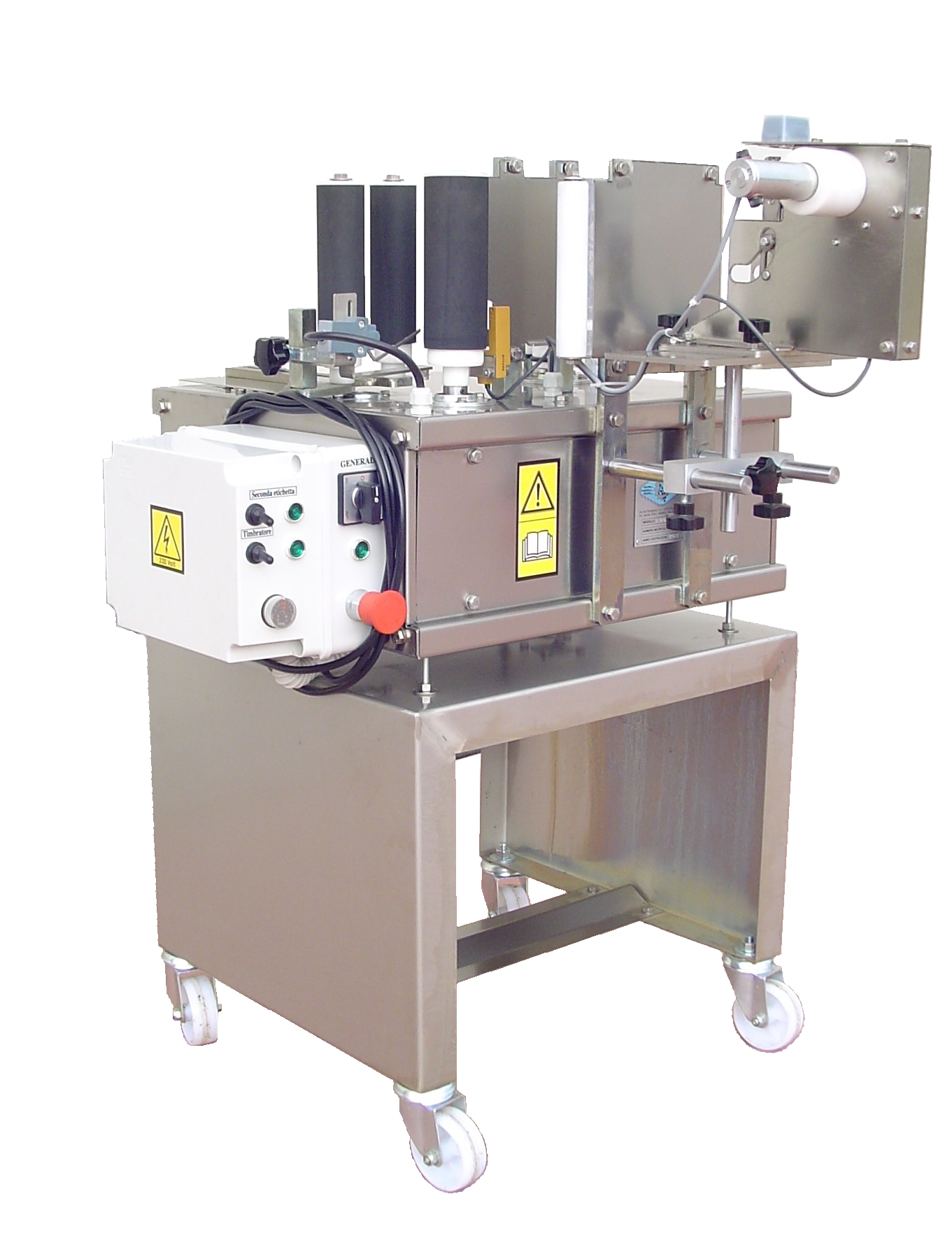 Labelling machine for wine and oil bottles